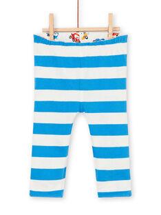 Leggings reversíveis brancas e azuis estampado carro bebé menino LUHAPAN2 / 21SG10X2PAN001