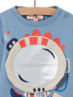 T-shirt azul horizonte com estampado de dragão astronauta bebé menino MUPLATEE1 / 21WG10O2TML216