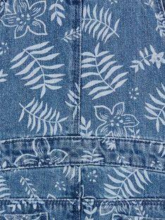 Jardineiras em ganga azul e branca com estampado florido LANAUSAC / 21S901P1SACP274